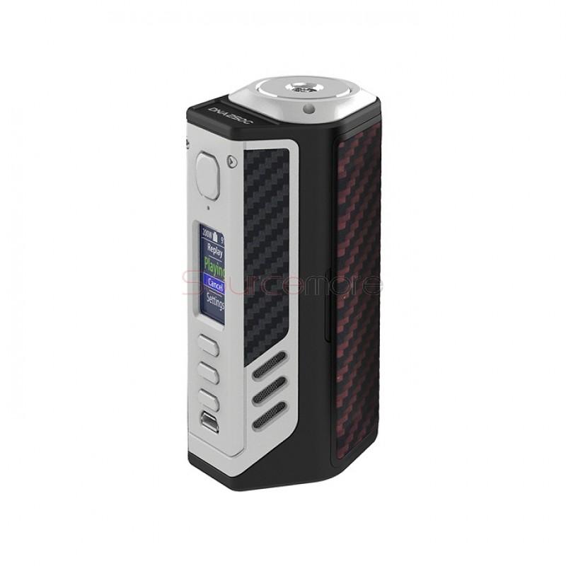 Lost Vape Triade DNA250C 300W Box Mod - Silver Frame & Red Black Kevlar