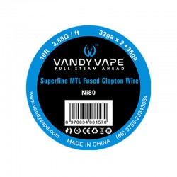 10ft Vandy Vape Superfine MTL Fused Clapton Wire Ni80 32ga*2+38ga