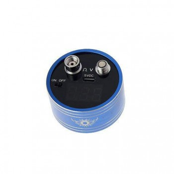 Round Style Ohmmeter&Voltmeter Tester 3-Digit LED Display 510/ego Connection with 300mah Buil-in Battery-Blue
