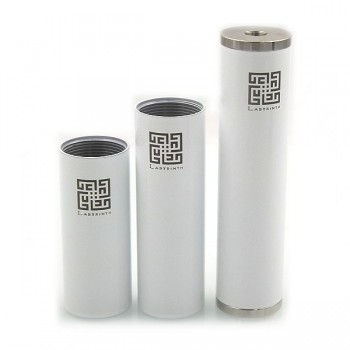 Labyrinth Stainless Steel Mod 18650/18350/18500 Battery Tubes Brass Caps 22mm-White