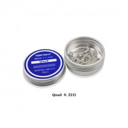 Vapor Storm SS316 Prebuild Coil Wires Quad 0.22ohm for Rebuildable Atomizers 28GA*4 10pcs