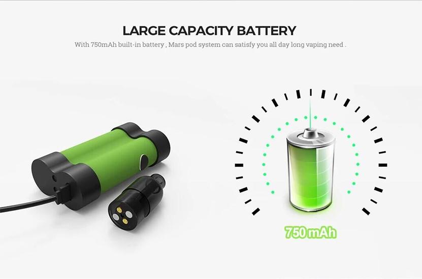 Mars Pod System Vape Kit Battery