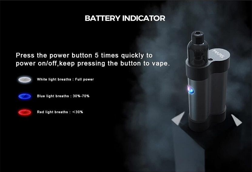 Mars Pod System Vape Kit Battery Indicator