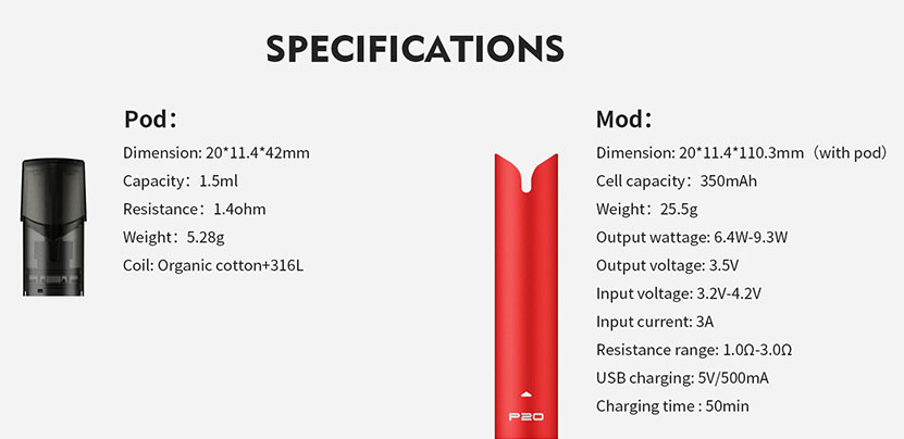 P20 Pod Vape Kit Specification
