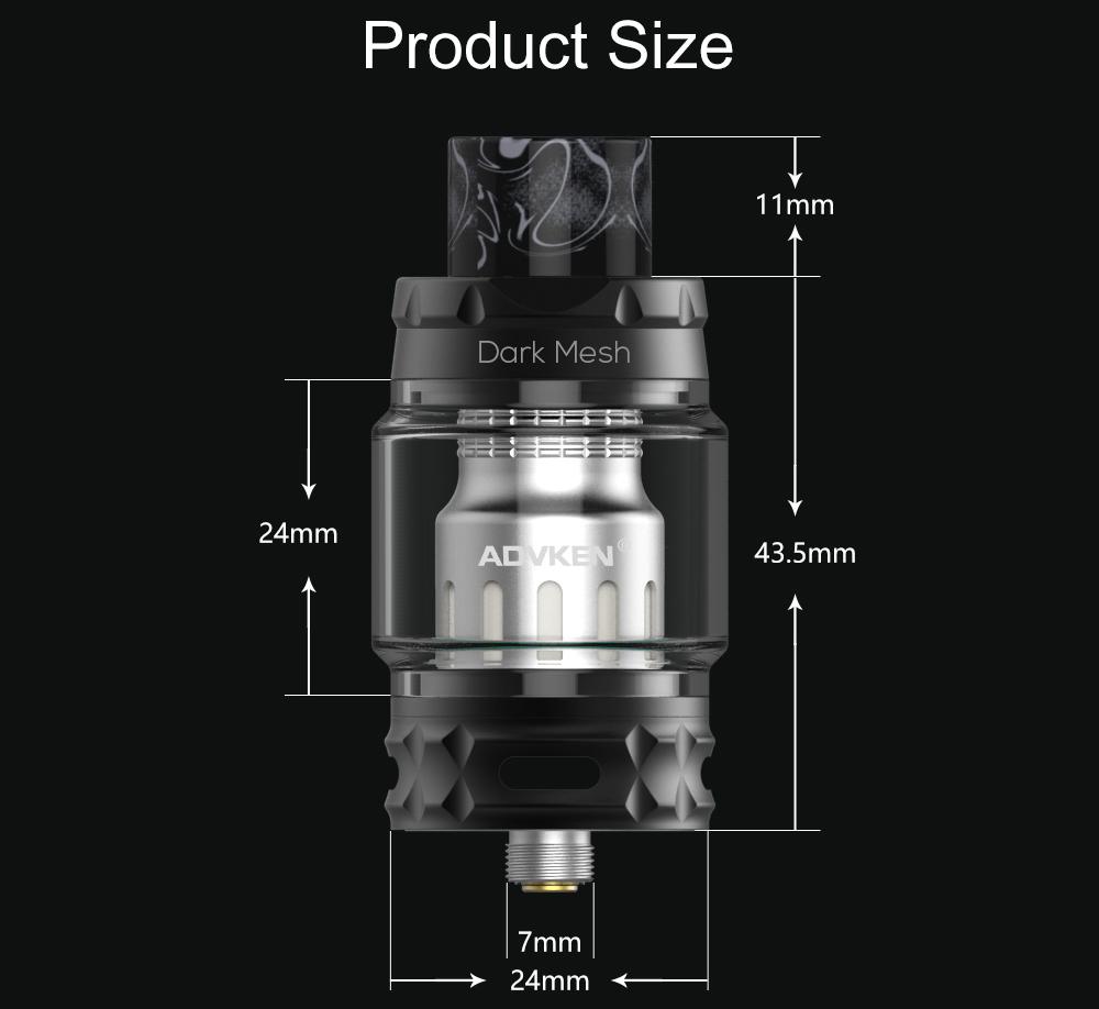 Advken Dark Mesh Tank Product Size