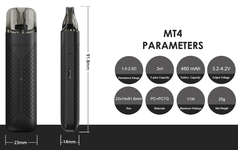 Artery MT4 Pod Kit Parameter