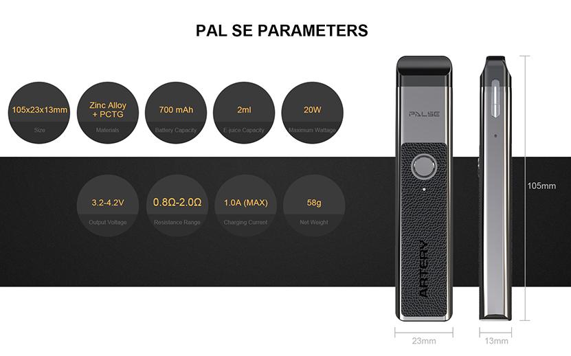 Artery PAL SE Pod System Starter Kit Parameter
