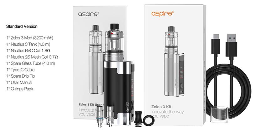 Aspire Zelos 3 Kit package