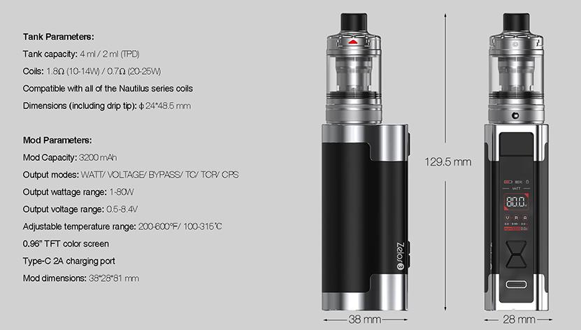 Aspire Zelos 3 Kit specification