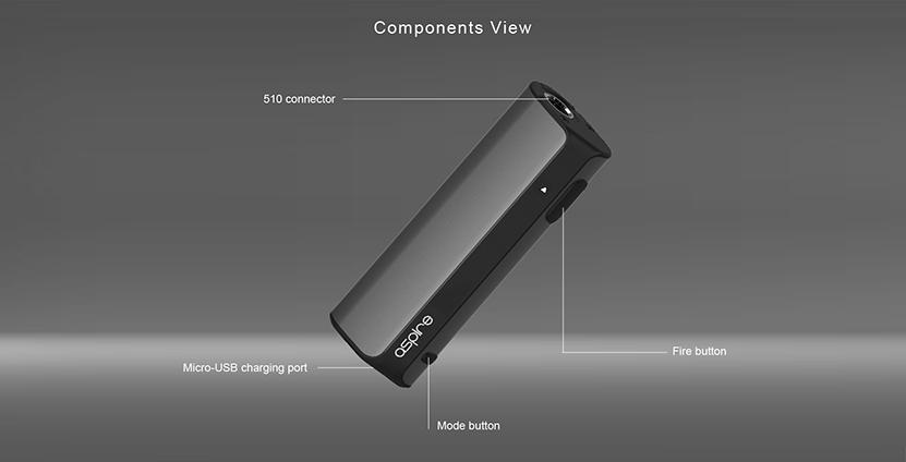 Aspire K Lite Mod 900mAh Components View