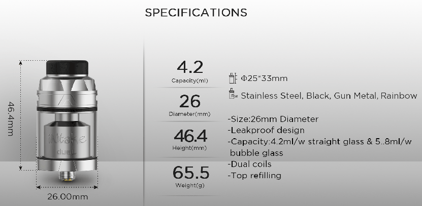 Augvape Intake Dual RTA Tank Specification