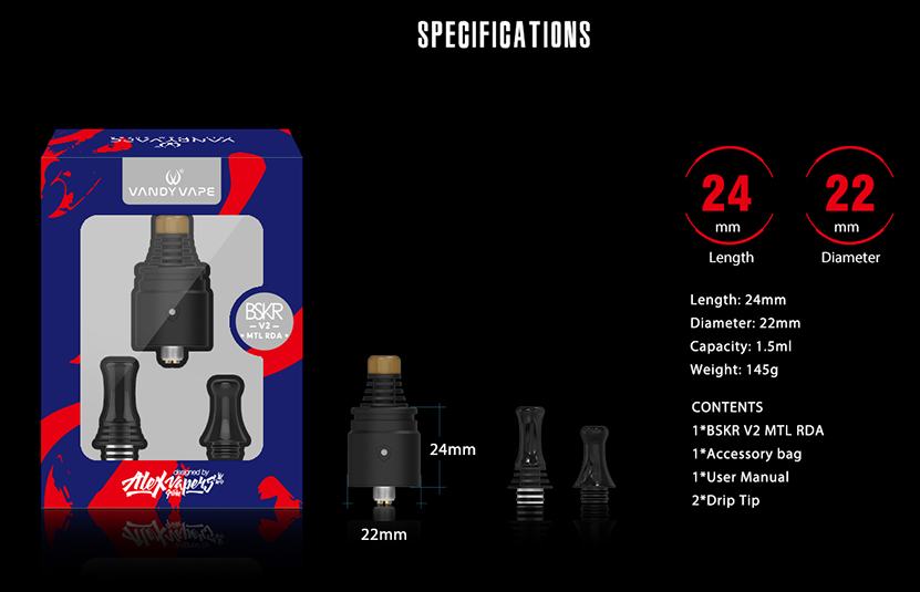 Berserker V2 MTL RDA Atomizer Specification