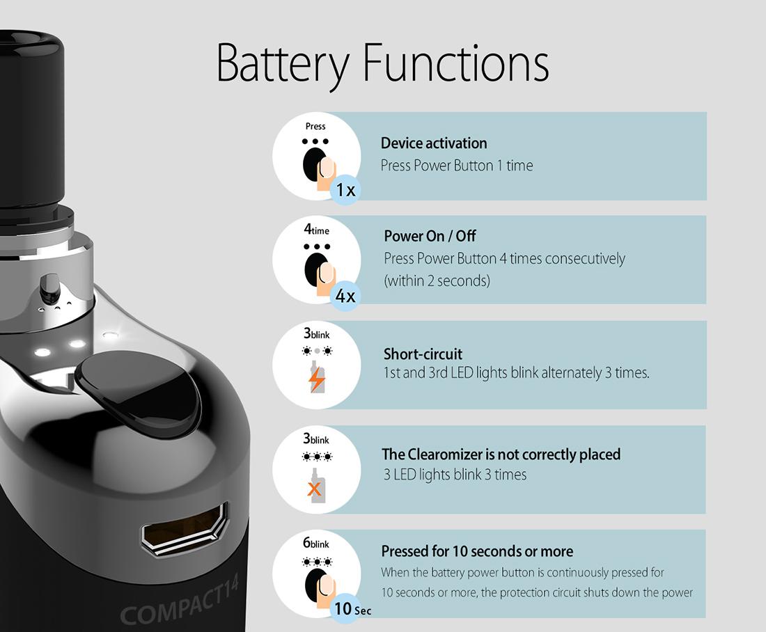 Compact 14 Vape Battery
