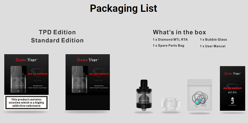 Damn Vape Diamond MTL RTA Package