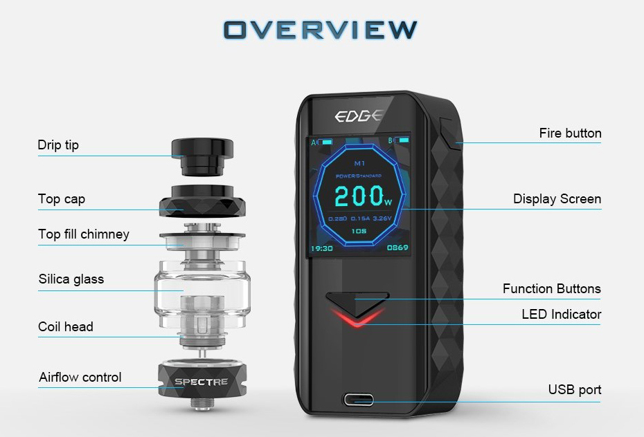 Digiflavor Edge 200W TC Kit Features 6