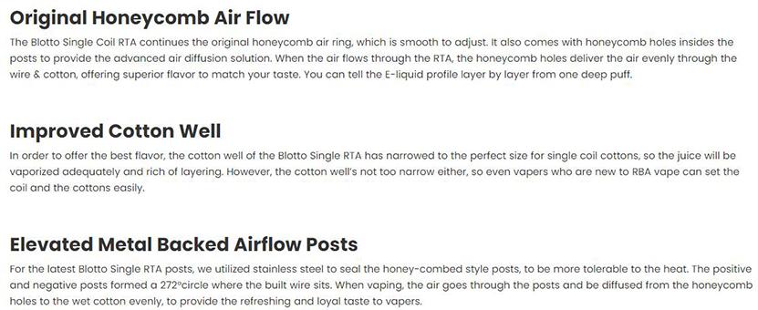 Blotto Single Coil RTA Features