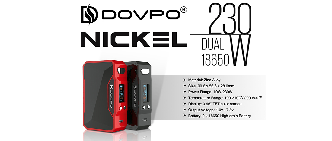 Dovpo Nickel 230W Box Mod Parameters