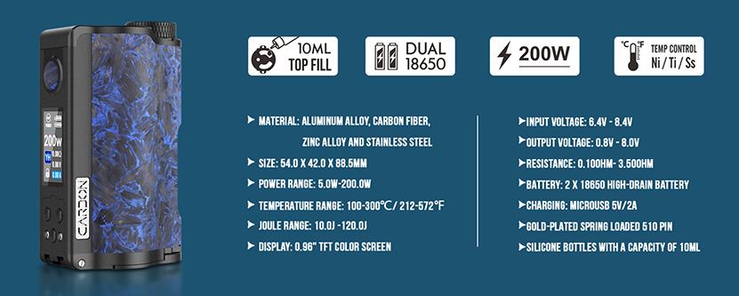 Dovpo Topside Dual Carbon Vape Mod Specification