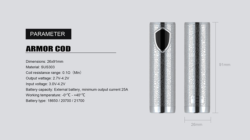 Ehpro Armor COD 21700 Semi-Mech Mod Specification