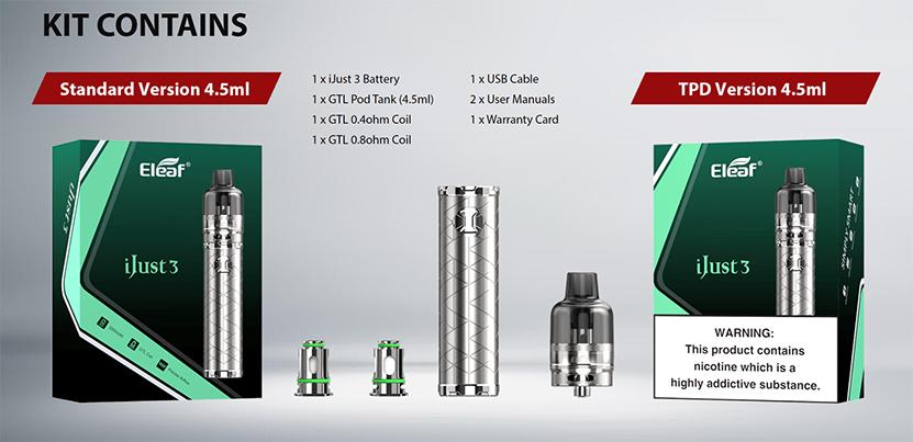 Eleaf iJust 3 with GTL Pod Tank Kit Content