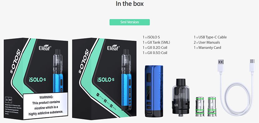 Eleaf iSolo S Kit with GX Tank Package