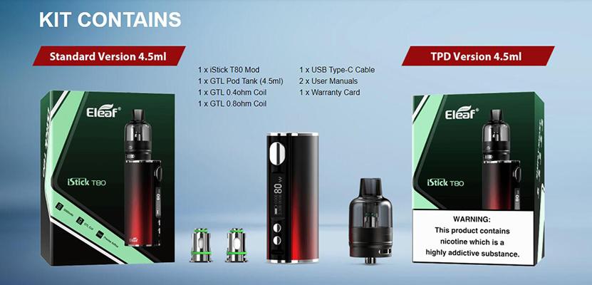 Eleaf iStick T80 with GTL Pod Tank Kit Contents