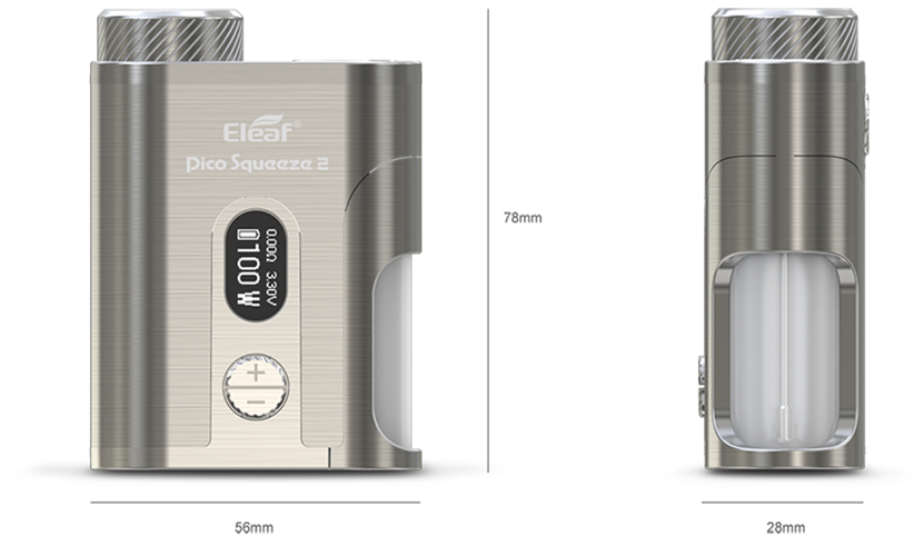 Eleaf Pico Squeeze 2 100W Squonk Mod Size