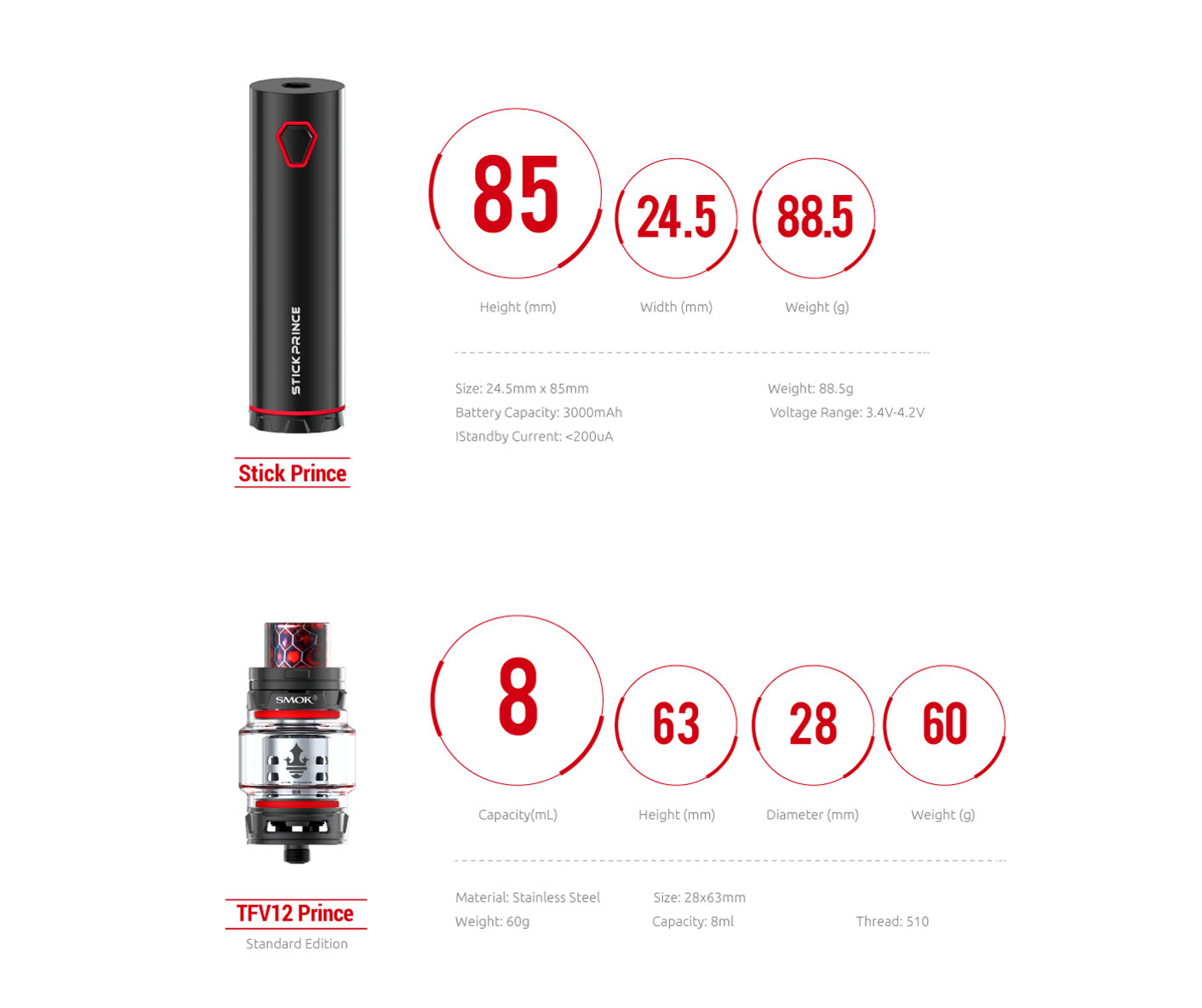 Smok Stick Prince Kit 3000mah Stick Prince Battery with 8ml TFV12 Prince  Tank-Silver