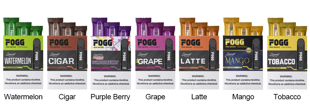 Fogg Vape Disposable Pod Device colors