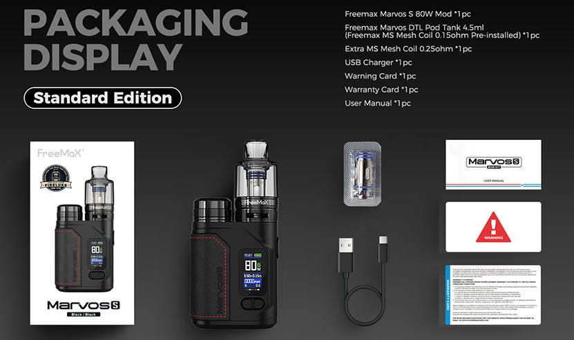 Freemax Marvos S 80W Kit Package List