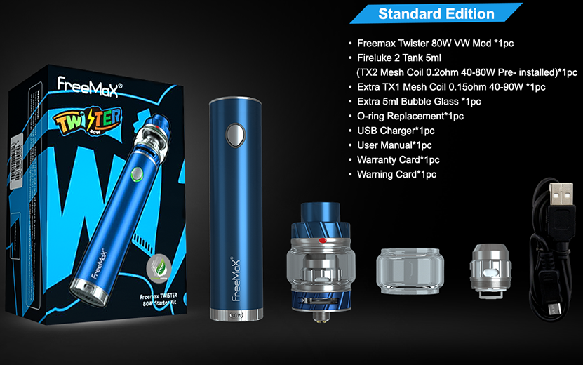 Freemax Twister Kit Metal Edition Includes