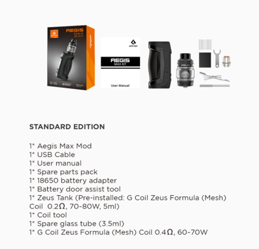 GeekVape Aegis Max Kit Package