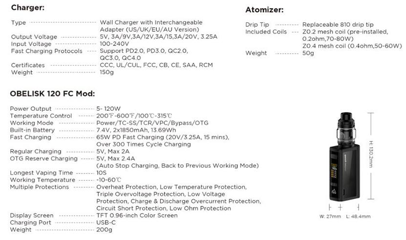 GeekVape Obelisk 120 FC Z Kit Specifications
