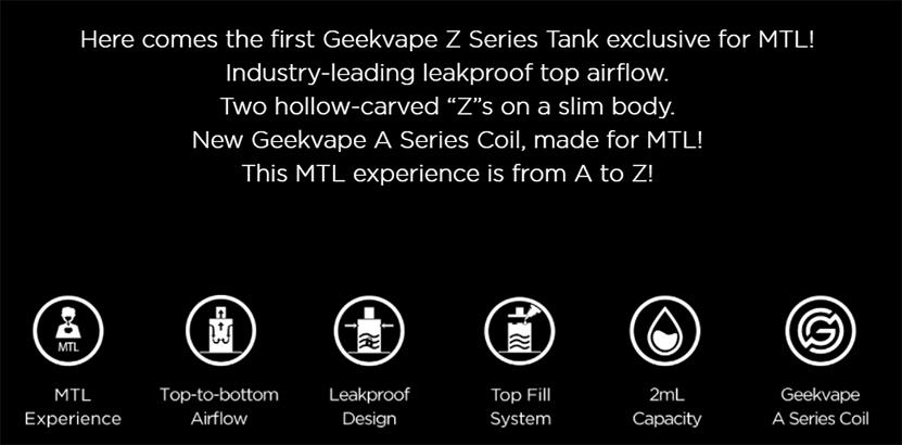 GeekVape Z MTL Tank Features