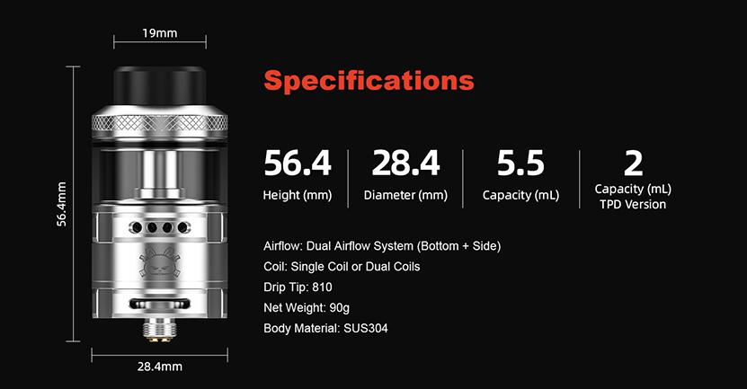 Hellvape Fat Rabbit RDA specification