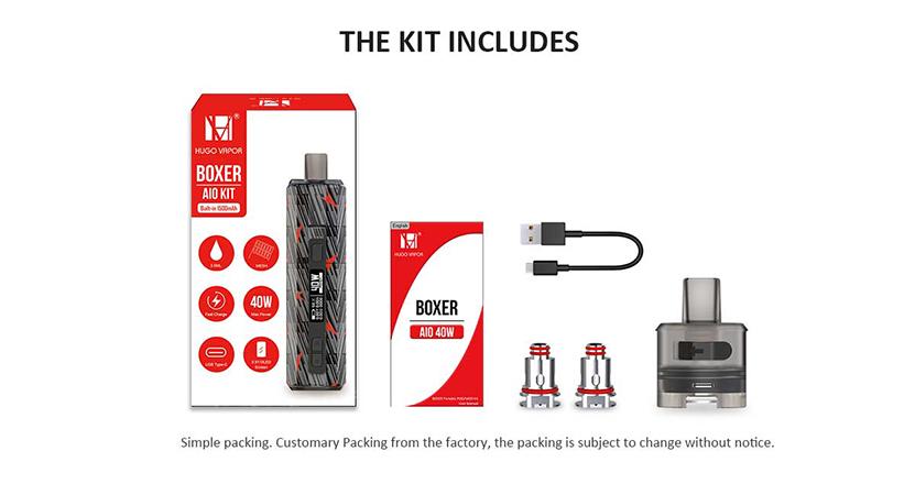Hugo Vapor Boxer AIO Kit Package