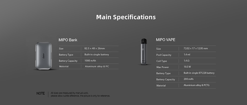 IJOY Mipo Pod Starter Kit Specification