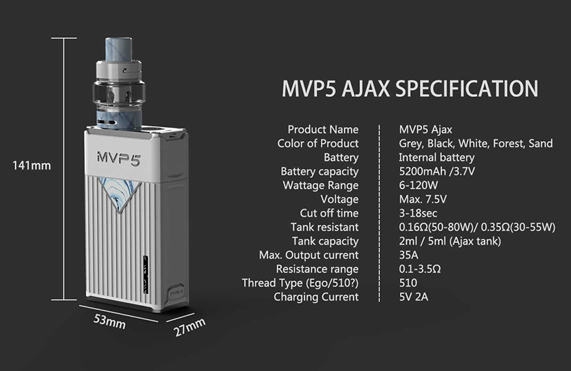 Innokin MVP5 Ajax Kit Specification