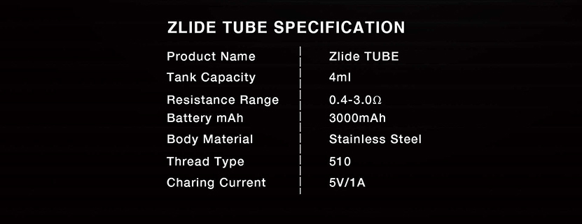 Innokin Zlide Tube Starter Vape Kit Specifications