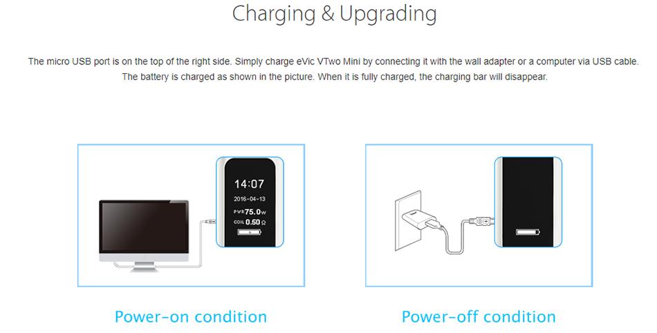 Joyetech eVic VTwo Mini Charging