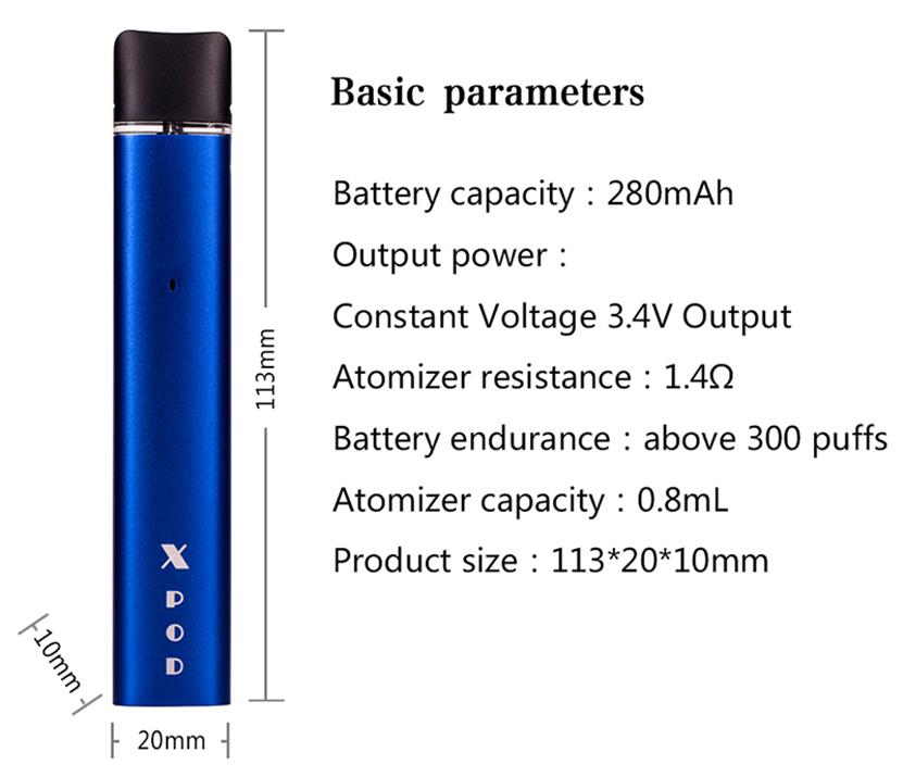 Kamry X Pod System Kit Parameters