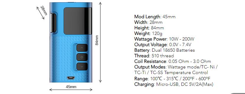 Kanger Ripple 200W TC Mod Features 1