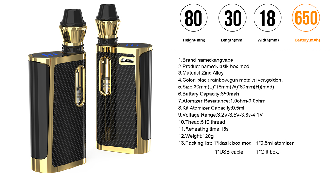 Kangvape Klasik Mod Kit Parameters