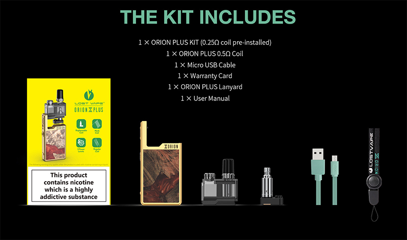 Lost Vape Orion Plus DNA Pod System Kit Package