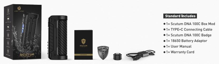 LostVape Scutum DNA100C Box Mod package