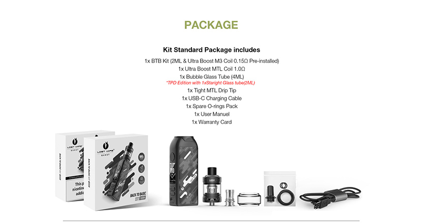 Lost Vape BTB TC Mod Kit Package
