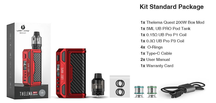 Lost Vape Thelema Quest Kit Package List