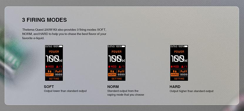 Lostvape Thelema Quest 200W Mod Firing Modes