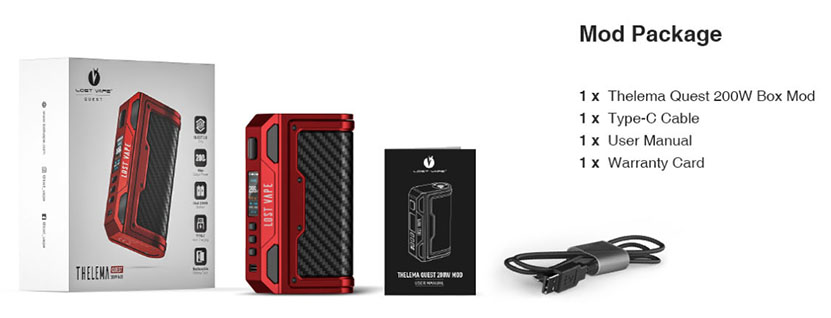 Lostvape Thelema Quest 200W Mod Package