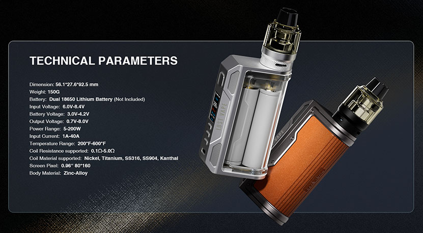 Lostvape Thelema Quest 200W Mod Parameters